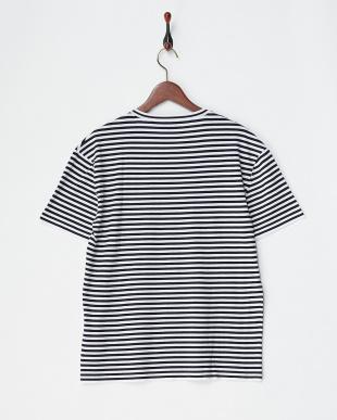 ネイビー/ホワイト コットン天竺ボーダーTシャツ|MEN見る