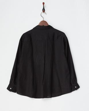 ブラック  リネンスキッパーシャツ|WOMEN見る