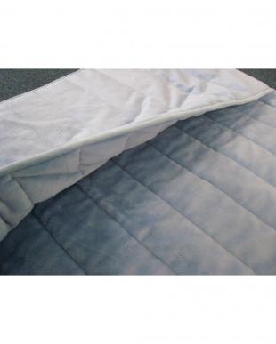 ブルー  [ダブル]発熱素材サンバーナー使用 暖か敷きパッド足入れポケット付見る