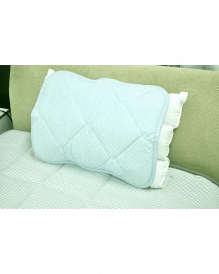 ブルー 冷感枕パッド 2枚組 PCM蓄冷蓄熱+麻混生地ダブル冷感素材使用見る