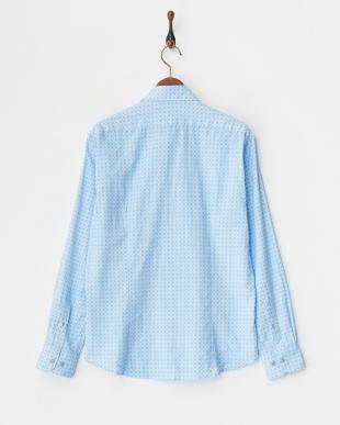 ブルー 麻綿 小紋柄シャツ見る