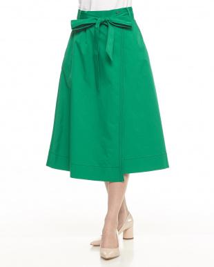 グリーン  配色ステッチラップ調スカート見る