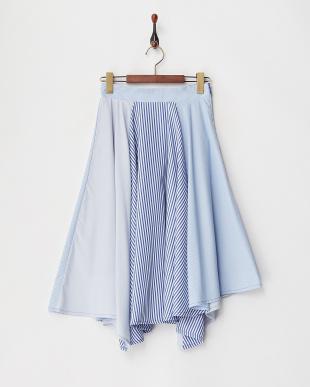 ブルー  ストライプコンビフレアスカート見る