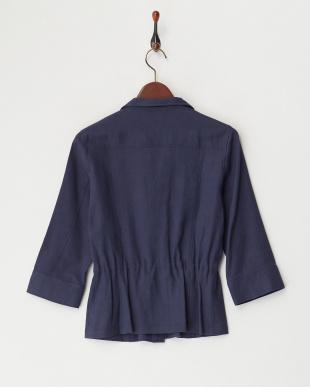 紺  トリアセジョーゼットダブルポケットシャツ見る