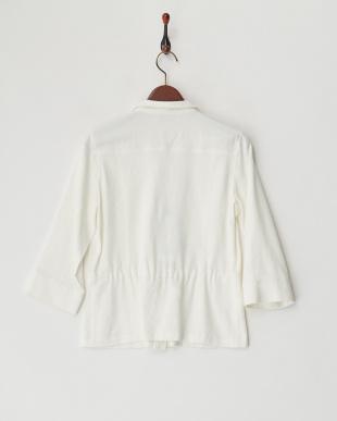 白  トリアセジョーゼットダブルポケットシャツ見る