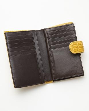 イエロー  2つ折り クロコダイル財布見る