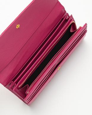 ピンク  エナメルクロコダイル フラップ長財布見る