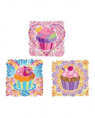 ウィンドウモザイク カップケーキ ピンク+ブルー+パープル見る