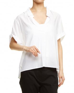 ホワイト フトソデスキッパーシャツ見る