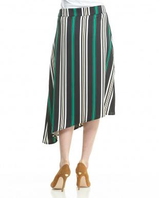 グリーンブラック  変形ヘム ラップ風ストライプ柄スカート見る