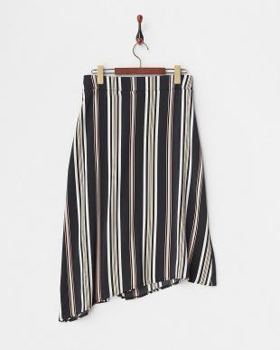 ピンクブラック  変形ヘム ラップ風ストライプ柄スカート見る