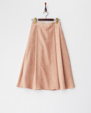 サーモンピンク  タックフレアースカート見る