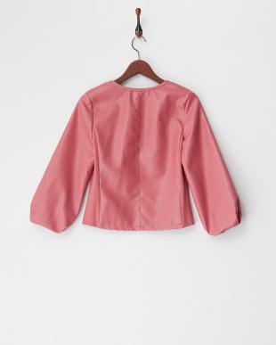 ピンク  合皮袖バルーンジャケット見る