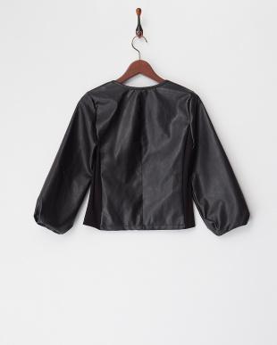 ブラック  合皮袖バルーンジャケット見る