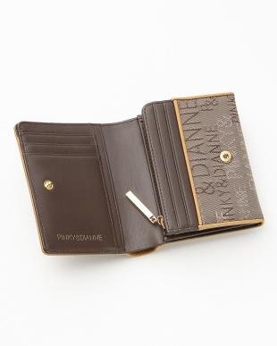 ブラウン  ロゴジャカード L字ファスナー二つ折り財布見る