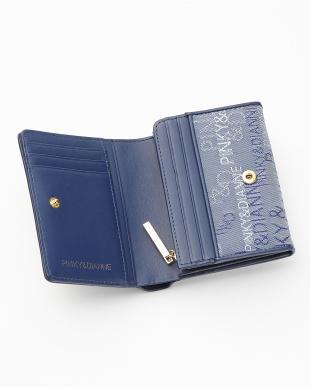ネイビー  ロゴジャカード L字ファスナー二つ折り財布見る