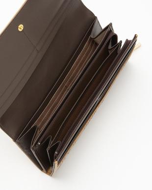 ブラウン  ロゴジャカード 薄型長財布見る