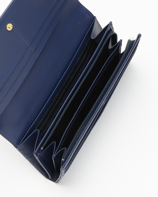 ネイビー  ロゴジャカード 薄型長財布見る
