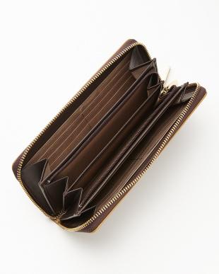 ブラウン  ロゴジャカード ラウンドファスナー長財布見る