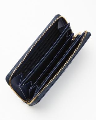 ネイビー  ロゴジャカード ラウンドファスナー長財布見る