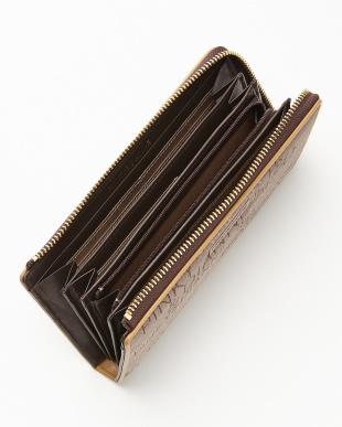 ブラウン  ロゴジャカード L字ファスナー長財布見る