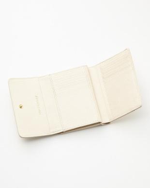 アイボリー  ロゴ型押し口金付二つ折り財布見る