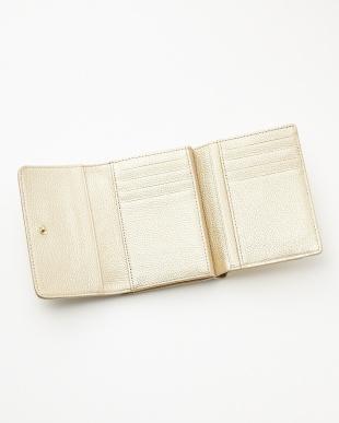 ゴールド  ロゴ型押し口金付二つ折り財布見る