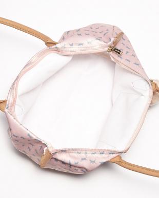 ピンク  キャットプリント 折り畳みトート見る