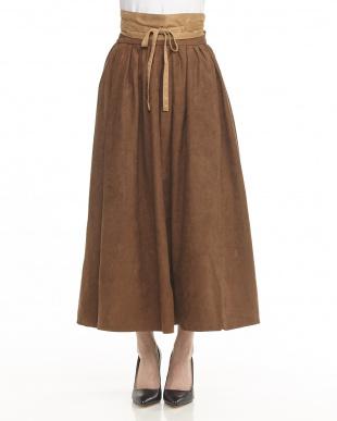 ベージュ  サッシュベルト付ピーチ起毛ロングスカート見る