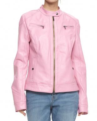 ピンク  ラムレザー スタンドジャケット見る