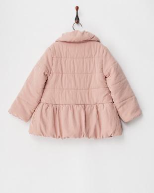 ライトピンク リボン付きAライン中綿コート見る