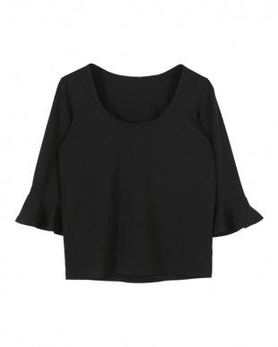 ブラック  フレアスリーブTシャツ見る