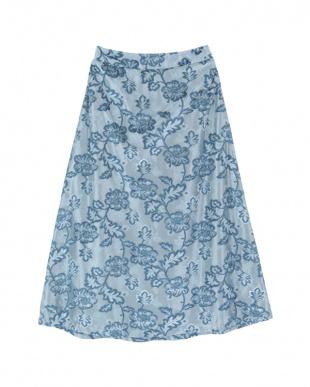 ライトブルー  3DフラワーチュールAラインスカート見る