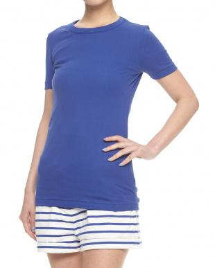 ターコイズブルー  クルーネック半袖Tシャツ見る