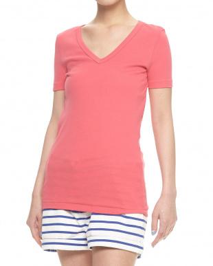 ピンク  Vネック半袖Tシャツ見る