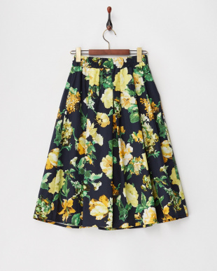 イエロー  フラワープリントギャザースカート見る