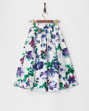 ブルー  フラワープリントギャザースカート見る