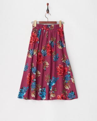 ピンク  リネンレーヨン フラワープリントスカート見る