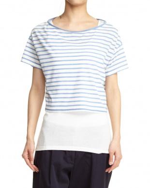 ホワイト×ブルー ボーダーTシャツ+タンクトップ セット見る