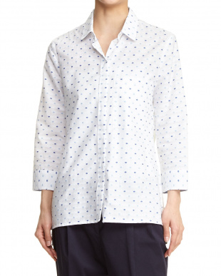 ブルー系×ホワイト ドットシャツ見る