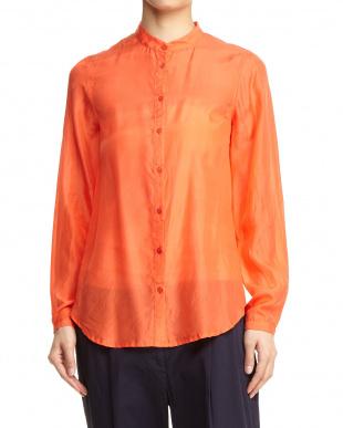 レッドオレンジ系 バンドカラーシャツ見る