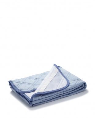 ブルー  冷感敷きパッド Q-MAX0.294 100×205cm見る