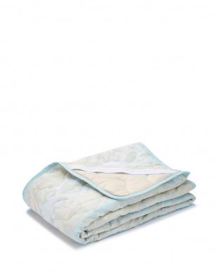 ブルー  綿ガーゼ 敷きパッド 100×205cm見る