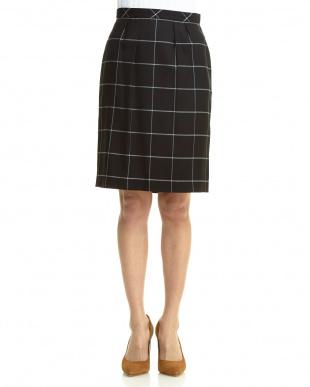ブラック  チェックボックススカート見る