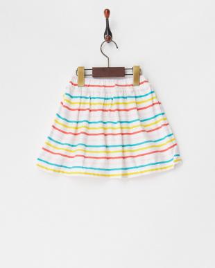 マルチ ボーダーギャザースカート見る