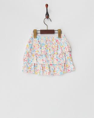 マルチ フラワープリントティアードスカート見る