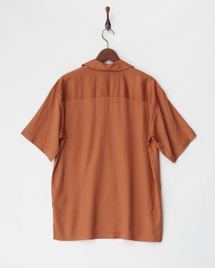 テラコッタ  レーヨン半袖オープンシャツ見る