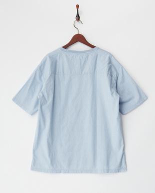 サックス  綿麻ストレッチTシャツ見る