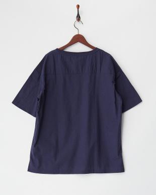 L.ネイビー  綿麻ストレッチTシャツ見る