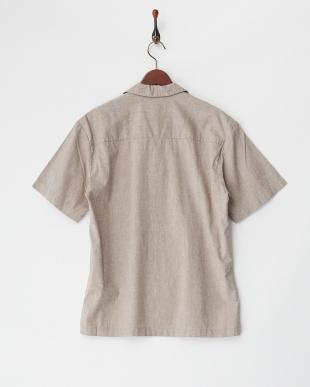 モカ  綿麻ストレッチオープンシャツ見る